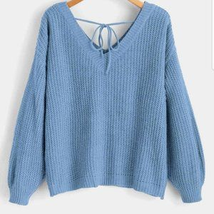 ZAFUL Drop Shoulder V Neck Oversized Sweater